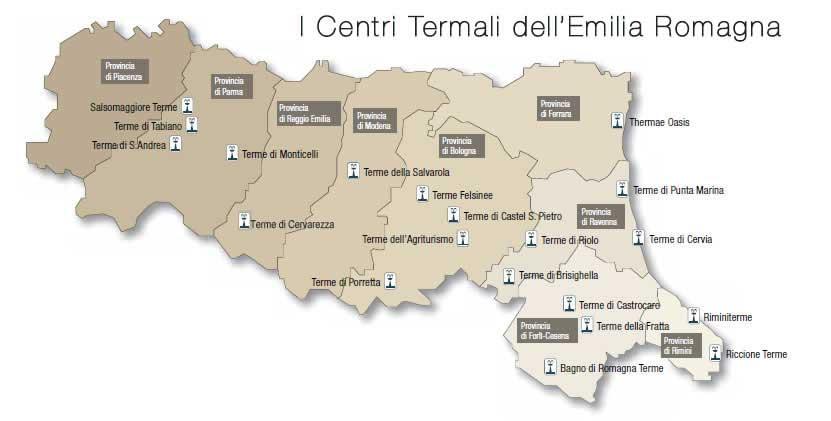 cartina delle terme dell'Emilia Romagna